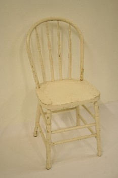 Chair, Dining, KITCHEN,TURNED SPINDLE BACK/LEGS, WOOD, WHITE