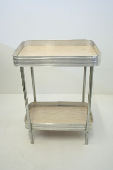 Table, Misc, LAMINATE TOP & LOWER SHELF,CHROME FRAME, RETRO LOOK , CHROME, SILVER