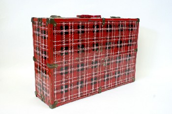 Table, Folding, PLAID,PICNIC,RED HANDLE,FOLDS OUT TO A TABLE (15