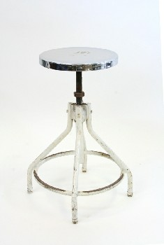 Stool, Stainless, MEDICAL,ROUND SEAT W/LOWER RUNG, STAINLESS STEEL, WHITE