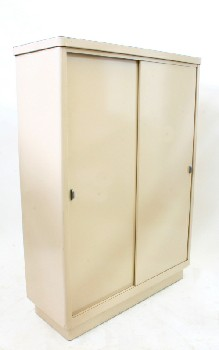 Cabinet, Office, 2 SLIDING DOORS W/SHELVES INSIDE,BROWN LAMINATE TOP (Not Exactly As Pictured, One Handle Is Missing & Condition Not Identical), METAL, BEIGE