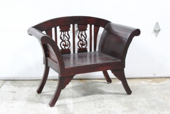 Bench, Slat Back, FLARED ARMS & LEGS,CARVED CUTOUT BACK PANELS, SOLID WOOD , WOOD, BROWN
