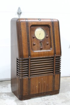 "Audio, Radio, ANTIQUE/1930s, CONSOLE BROADCAST RECEIVER RADIO, ""US & FOREIGN SHORTWAVE BROADCAST"", DOES NOT WORK, WOOD, BROWN"