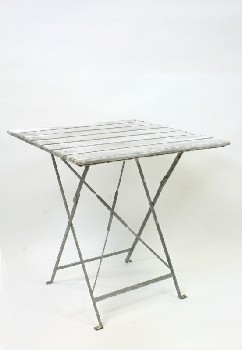 Table, Folding, WHITEWASHED,METAL X-SHAPED FRAME W/BOLT DOWN LEGS, WOOD, WHITE
