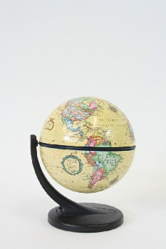 Globe, Tabletop, WORLD,DOUBLE ROTATING OLD WORLD STYLE GLOBE ON BLACK STAND , PLASTIC, YELLOW