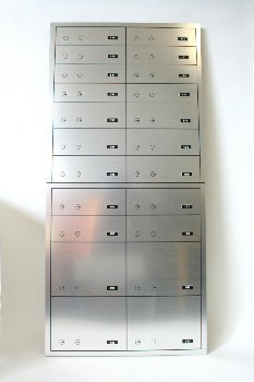 Safe, Safety Deposit Box, PROP BANK VAULT WALL PANEL,NUMBERED SAFE DEPOSIT BOXES W/DOUBLE KEYHOLES, BRUSHED , ALUMINUM, SILVER