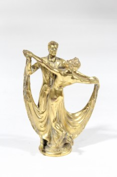 Decorative, Figurine, ANTIQUE TROPHY TOPPER, BALLROOM DANCING, COUPLE, SOLID BRASS, BRASS, BRASS