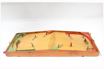 Game, Misc, 1950s VINTAGE TABLETOP HOCKEY GAME, MOVING GREEN & RED WOODEN PEG PLAYERS, MESH NETS, NO BALL/PUCK, WOOD, BROWN