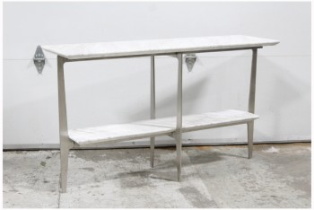 Table, Console, BRUSHED METAL FRAME,WHITE MARBLE TOP & SHELF, MARBLE, WHITE
