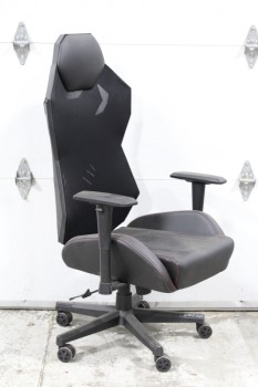 Chair, Misc, GAMER CHAIR, HIGH BACK HEAD REST, ROLLING, LEATHER, BLACK