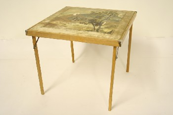 Table, Folding, MOUNTAIN SCENE ON TOP,SQ WOOD LEGS, WOOD, OFFWHITE