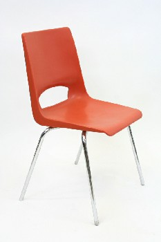Chair, Stackable, MOLDED SEAT W/CHROME LEGS, ARMLESS , PLASTIC, ORANGE
