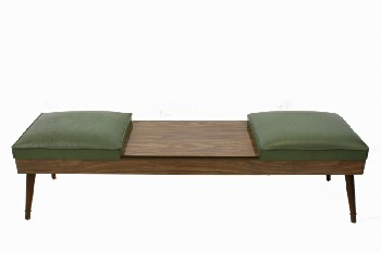 Bench, Seats, VINTAGE, 2 GREEN VINYL SEATS W/BROWN LAMINATE WOOD CENTRE TABLE SURFACE, WOOD, BROWN