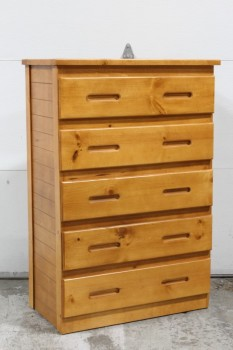 Dresser, Miscellaneous, 5 DRAWERS W/INSET PULL HANDLES, WOOD, BROWN