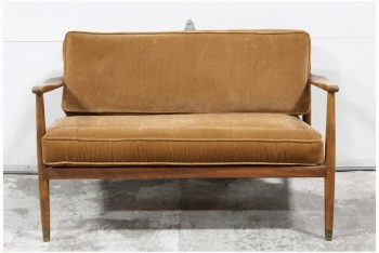 Sofa, Loveseat, VINTAGE,TEAK,BOWED ARMS,BROWN VELVET CUSHIONS W/SMALL WHITE DOTS , WOOD, BROWN