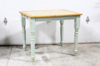 Table, Kitchen, KITCHEN ISLAND,TILE TOP W/WOOD BORDER, TURNED LIGHT GREEN LEGS, WOOD, GREEN