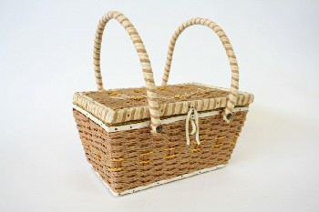 Sewing, Basket, VINTAGE,W/LID & HANDLES,WOVEN GOLD THREADS & FLOWERS , WICKER, BROWN