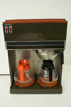 Restaurant, Appliance, COFFEEMAKER,2 ORANGE WARMERS W/FUNNEL,CARAFES SEPARATE, PLASTIC, BROWN