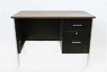 Desk, Metal, 2 SIDE DRAWERS,BROWN LAMINATE TOP, METAL, BLACK