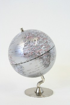 Globe, Tabletop, WORLD,GLOBE ON STAND W/BLK & RED TEXT, PLASTIC, GREY