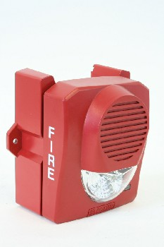 Fire, Box, WALLMOUNT STROBE BOX W/LIGHT,SPEAKER & MOUNT, AGED, PLASTIC, RED