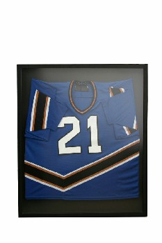 Wall Dec, Shadow Box, CLEARABLE,BLUE TEAM SPORTS JERSEY (#21) W/BROWN WHITE & BLACK STRIPES, BLACK MATTING , WOOD, BLACK