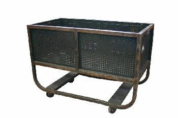 Cart, Metal, VINTAGE,INDUSTRIAL,POST OFFICE/MAIL CART,CURVED LOWER LEGS W/CROSS BARS, PERFORATED SIDES, ROLLING, AGED , METAL, GREEN