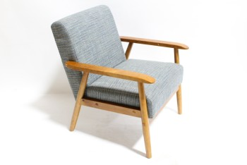 Chair, Armchair, WOOD ARMS & FRAME,TEXTURED GREY & BLUE UPHOLSTERY, WOOD, BROWN