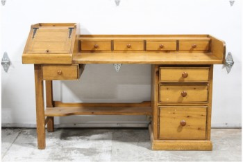 Desk, Wood, VINTAGE,MULTI-DRAWER,RUSTIC,SINGLE PEDESTAL W/3 LARGE DRAWERS, 4 SMALLER DRAWERS & ANGLED CUPBOARD ALONG TOP, WOOD, BROWN