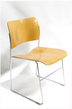 Chair, Side, MIDCENTURY MODERN MOULDED PLYWOOD, CHROME METAL FRAME, NO ARMS, STACKABLE, WOOD, BROWN