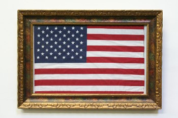 Wall Dec, Americana, U.S.A. FLAG,CARVED GOLD FRAME, WOOD, MULTI-COLORED
