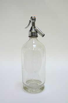 Bar, Bottle, SELTZER BOTTLE W/SILVER TOP,OLD STYLE, GLASS, CLEAR