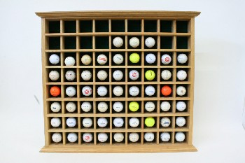 Wall Dec, Collection, CLEARABLE, OAK, DRESSED DISPLAY SHELF W/57 GOLF BALLS, WALLMOUNT, SPORT, GOLFER, WOOD, BROWN