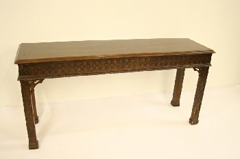 Table, Console, SOFA/HALL TABLE,BURLED TOP,CARVED LEGS/APRON, WOOD, BROWN