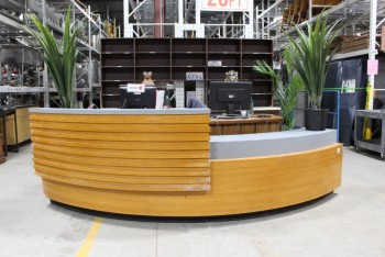 Counter, Misc, LOBBY/RECEPTION DESK,CURVED,2 LEVELS,HIGHER LEVEL HAS HORIZONTAL SLATS , WOOD, BROWN