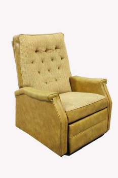 Chair, Recliner, TEXTURED FABRIC SEAT/BACK,BUTTON TUFTED, VINYL, GOLD
