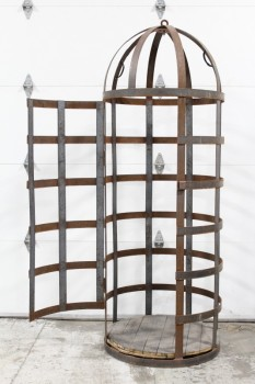 Cage, Iron , 7FT,METAL BAND CONSTRUCTION,ROUNDED TOP,HINGED DOOR,WOOD FLOOR, HUMAN SIZED , IRON, BLACK