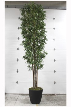 Plant, Fake, 14FT XL FAKE BAMBOO, BLACK PLANTER - *Must Be Returned With All Branches*, PLASTIC, GREEN