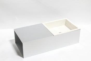 Plumbing, Sink, MODERN SINK UNIT, WHITE SQUARE BASIN W/ATTACHED GREY COUNTER SHELF, METAL, GREY