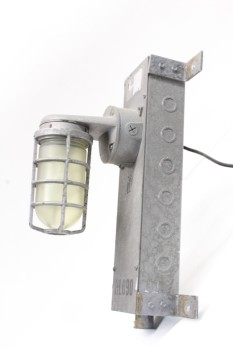 Lighting, Industrial, INDUSTRIAL,CAGED LIGHT ON RECTANGULAR WALLMOUNT BOX - Condition Not Identical On All, Some Not Wired (04/2019) , METAL, GREY