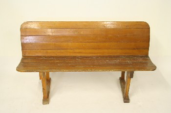 Bench, Misc, MAPLE,WOOD SLAT W/ROUNDED BACK, WOOD, BROWN