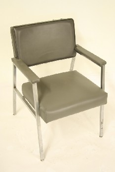 Chair, Client, VINYL SEAT/BACK W/ARMS, CHROME, GREY