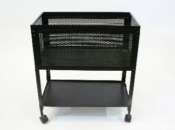 Cart, Office, RECTANGULAR FILE CART W/PERFORATED SIDES,LOWER SHELF, ROLLING, DRESSED W/FILES, PLASTIC, BLACK