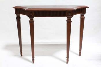 Table, Console, TRADITIONAL,LINED BORDER ON APRON,ANGLED FRONT, ACCENT MEDALLIONS, 1 DRAWER, WOOD, BROWN