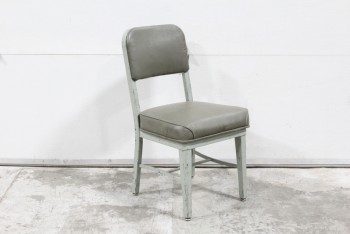 Chair, Office, VINTAGE,INDUSTRIAL,DARK VINYL SEAT/BACK, NO ARMS, LIGHT METAL FRAME, 1950s/1960s, METAL, GREY