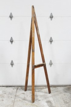 Art Supplies, Easel, FREESTANDING, VINTAGE, FOLDING A-FRAME, 3 LEGS CONNECTED W/ROPE, USED, WOOD, BROWN