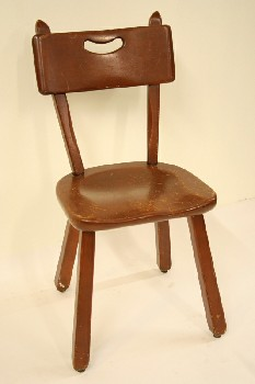 Chair, Side, MAPLE,HANDHOLD CUT IN BACK, WOOD, BROWN
