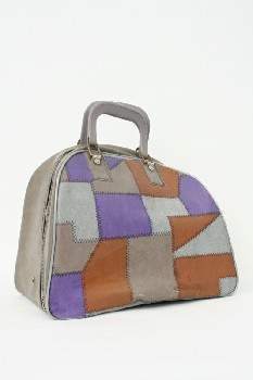Sport, Bowling, BAG W/HANDLES,FAUX PATCHES OF PURPLE/BROWN & GREY, VINYL, MULTI-COLORED