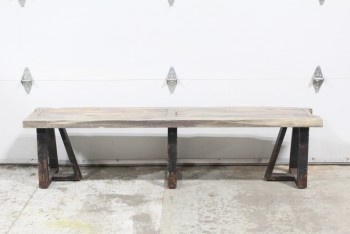 Bench, Rustic, 6', BROWN WOOD RUSTIC TOP, BLACK LEGS LOOK LIKE METAL, AGED - Condition Slightly Different On All, WOOD, BROWN