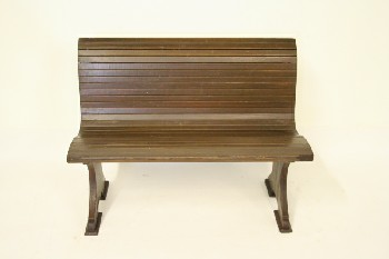 Bench, Pew, FIR,WOOD SLAT W/CURVED BACK, WOOD, BROWN